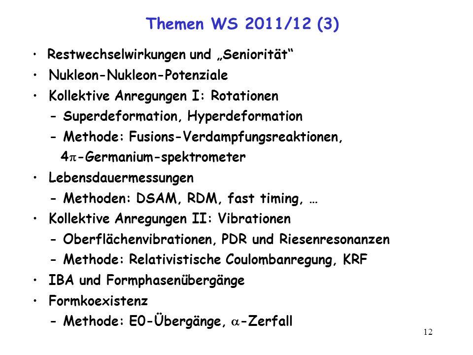 Themen WS 2011/12 (3) Nukleon-Nukleon-Potenziale