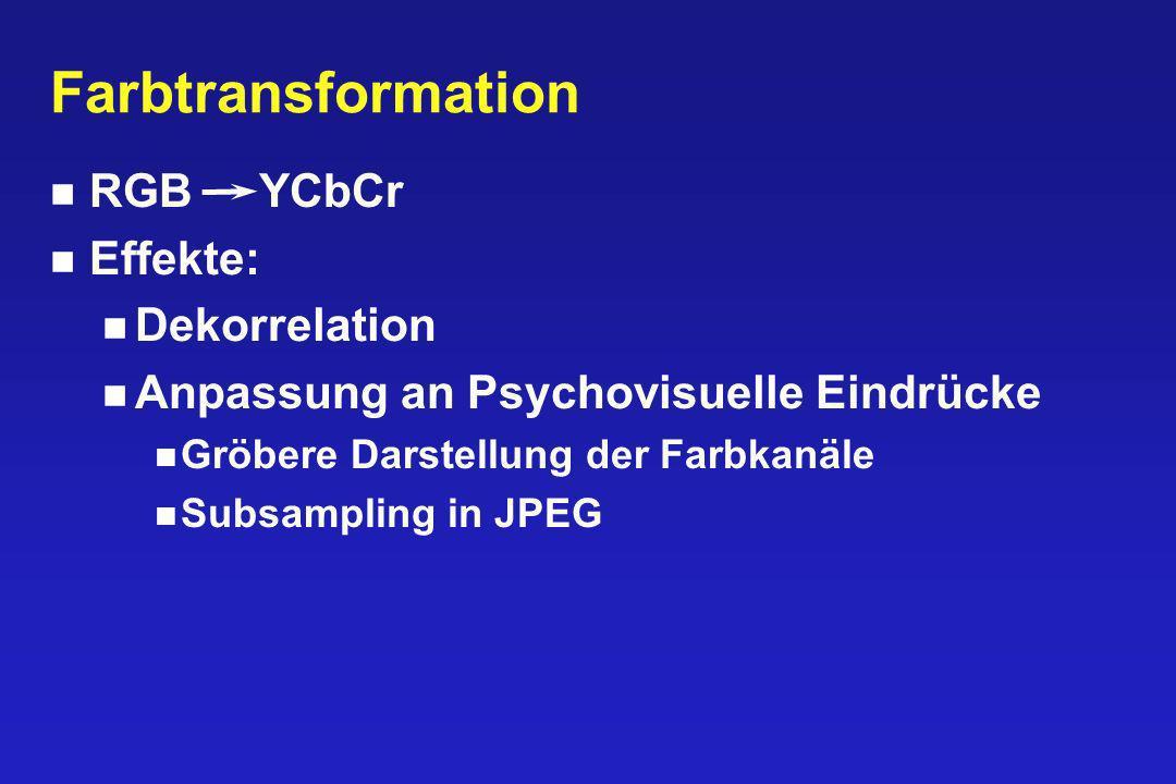 Farbtransformation RGB YCbCr Effekte: Dekorrelation