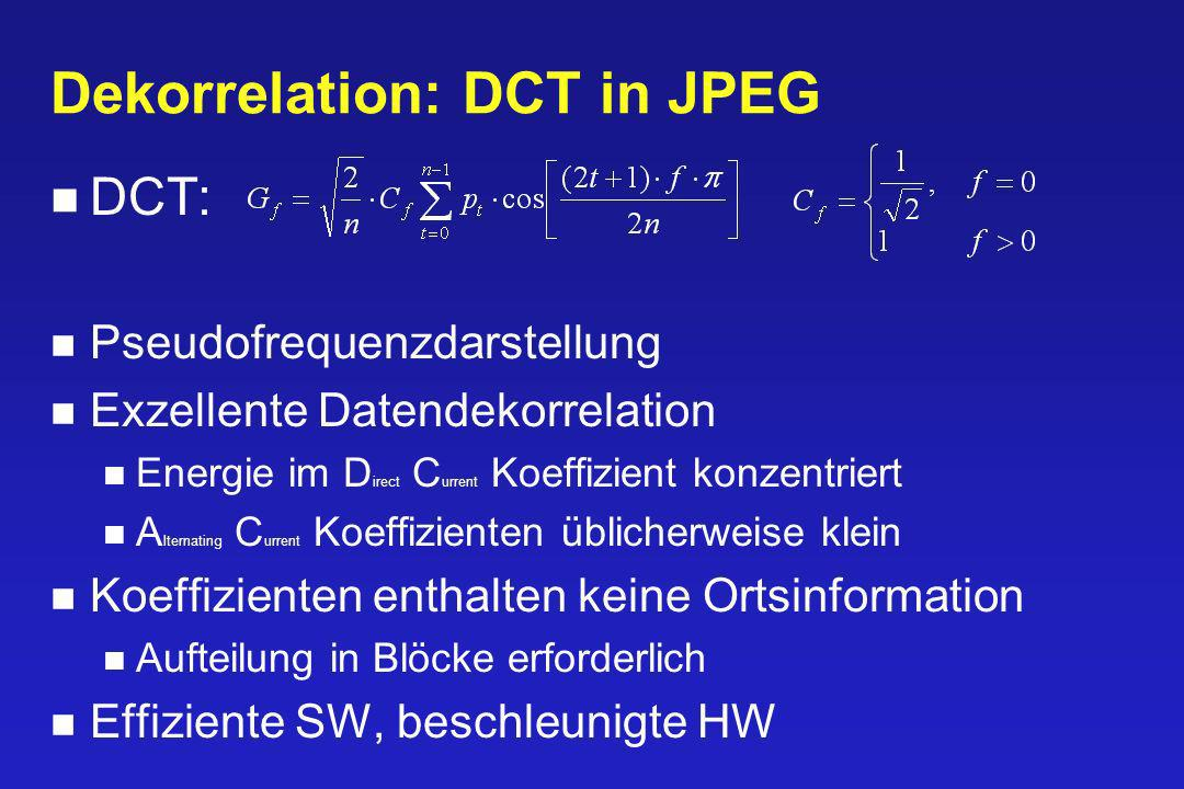 Dekorrelation: DCT in JPEG