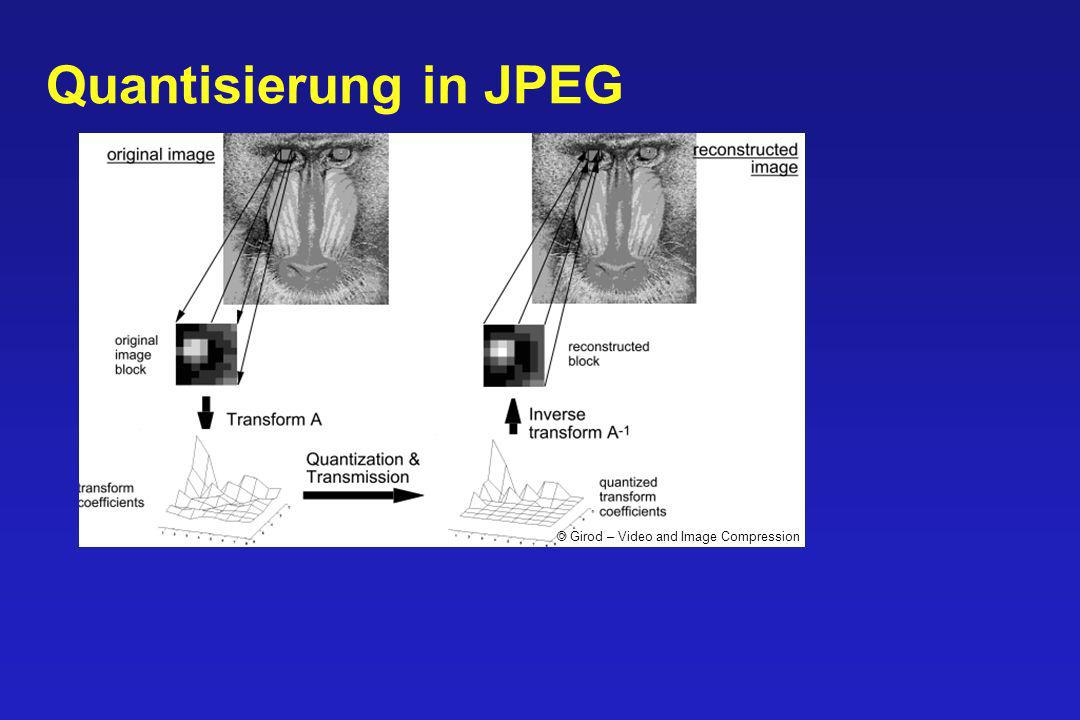 Quantisierung in JPEG © Girod – Video and Image Compression