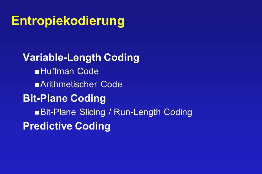Entropiekodierung Variable-Length Coding Bit-Plane Coding