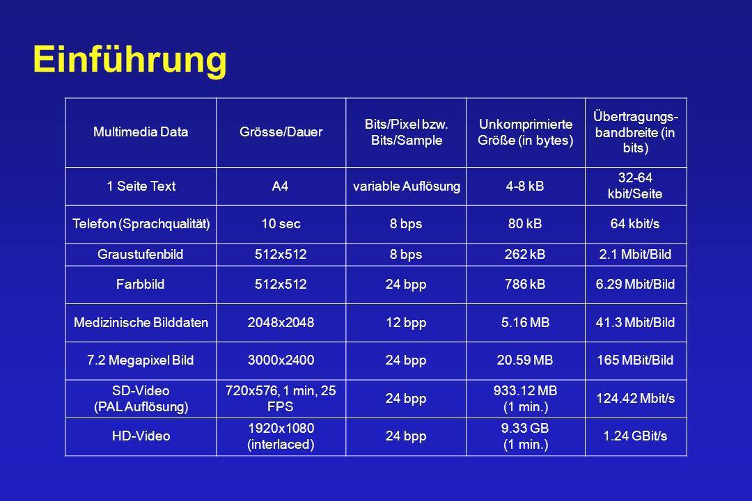 Einführung Multimedia Data Grösse/Dauer Bits/Pixel bzw. Bits/Sample