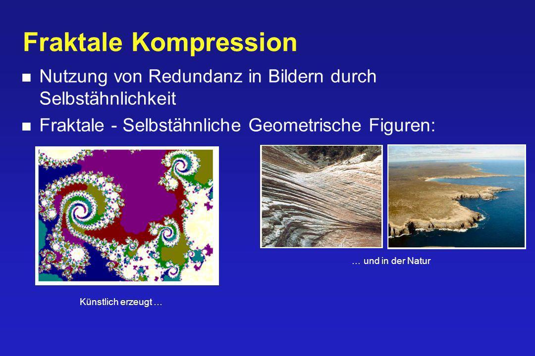 Fraktale Kompression Nutzung von Redundanz in Bildern durch Selbstähnlichkeit. Fraktale - Selbstähnliche Geometrische Figuren: