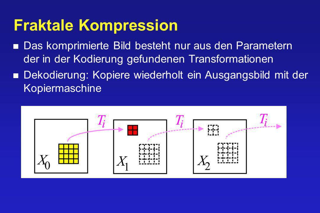 Fraktale Kompression Das komprimierte Bild besteht nur aus den Parametern der in der Kodierung gefundenen Transformationen.