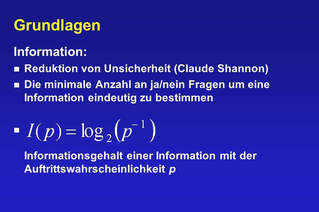 Grundlagen Information: Reduktion von Unsicherheit (Claude Shannon)