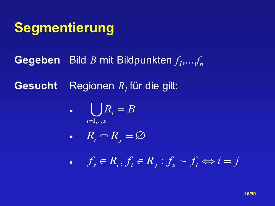 Segmentierung Gegeben Bild B mit Bildpunkten f1,...,fn