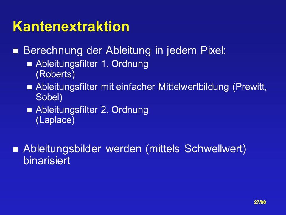 Kantenextraktion Berechnung der Ableitung in jedem Pixel: