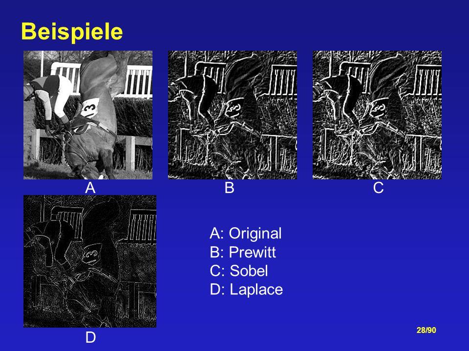 Beispiele A B C. D. A: Original. B: Prewitt.