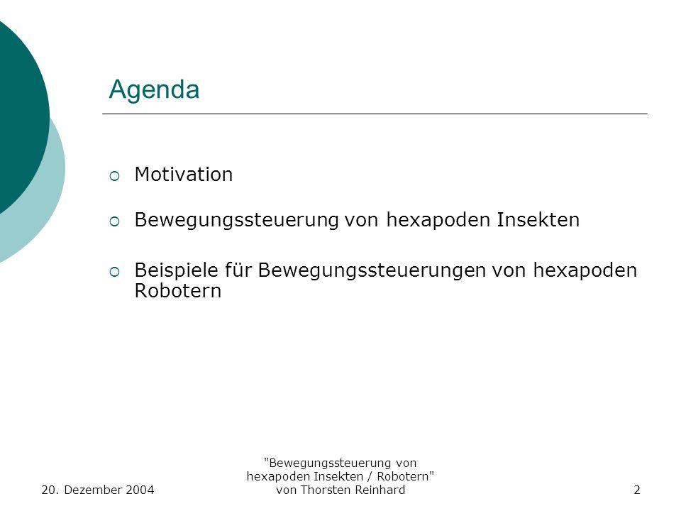 Agenda Motivation Bewegungssteuerung von hexapoden Insekten