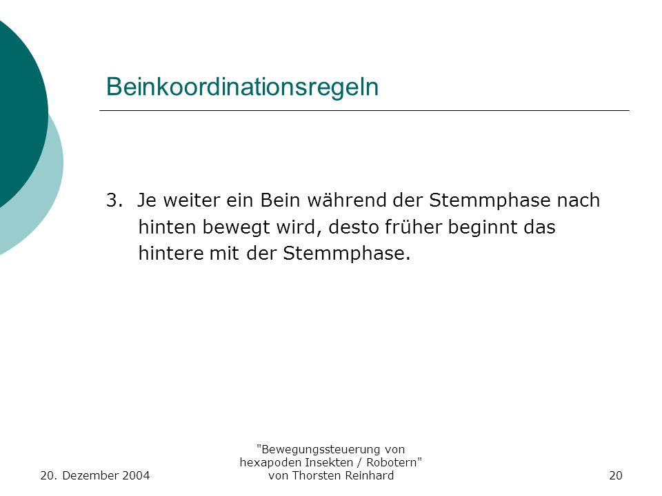 Beinkoordinationsregeln