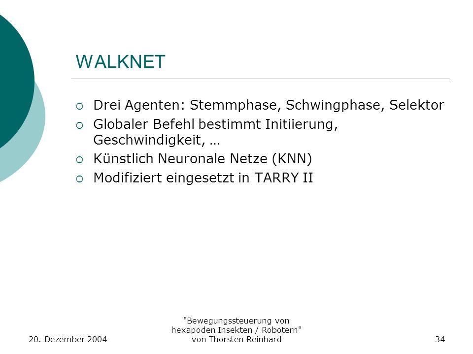 WALKNET Drei Agenten: Stemmphase, Schwingphase, Selektor