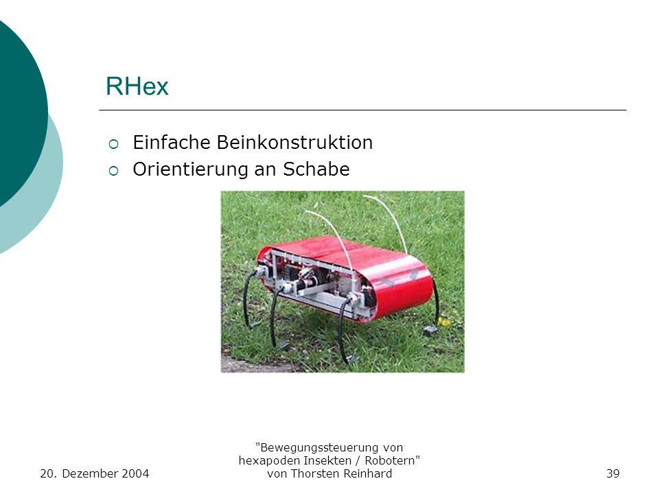 RHex Einfache Beinkonstruktion Orientierung an Schabe