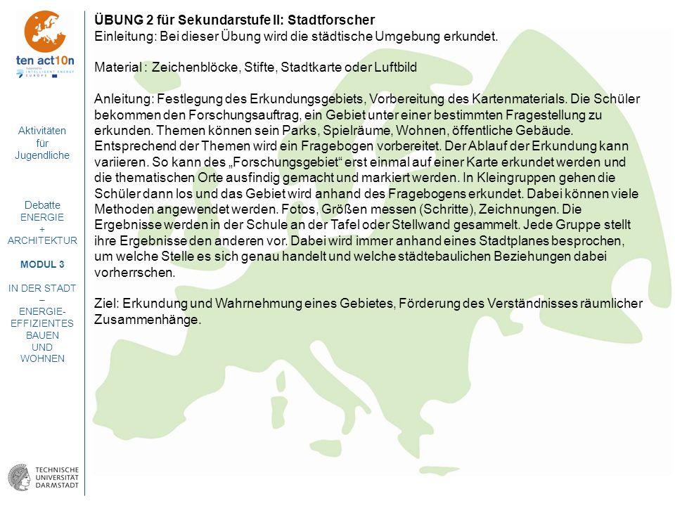 ÜBUNG 2 für Sekundarstufe II: Stadtforscher