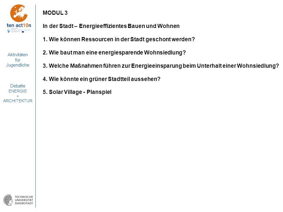 MODUL 3 In der Stadt – Energieeffizientes Bauen und Wohnen. 1. Wie können Ressourcen in der Stadt geschont werden