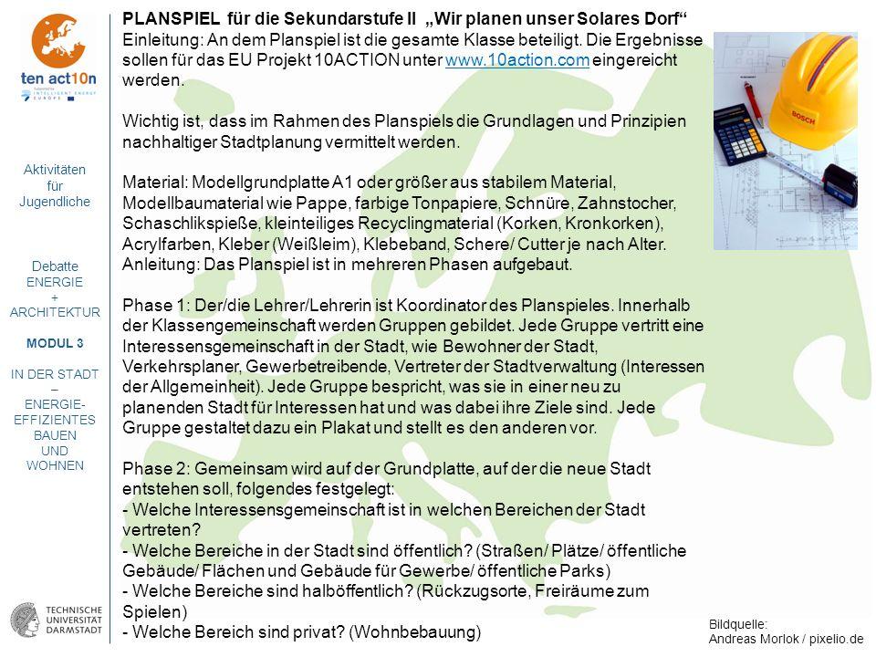 """PLANSPIEL für die Sekundarstufe II """"Wir planen unser Solares Dorf"""