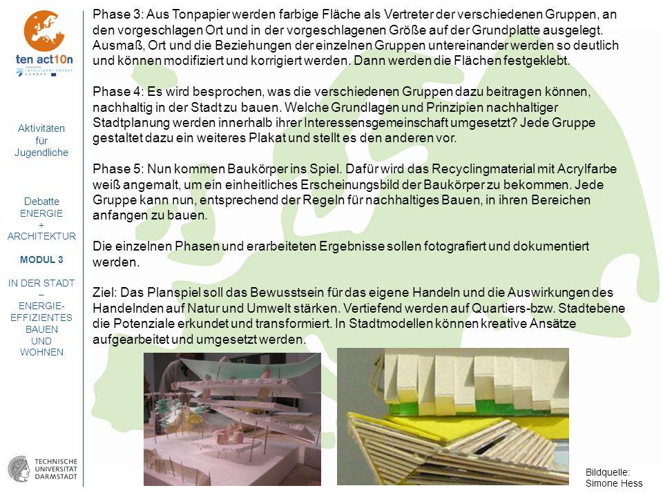 Phase 3: Aus Tonpapier werden farbige Fläche als Vertreter der verschiedenen Gruppen, an den vorgeschlagen Ort und in der vorgeschlagenen Größe auf der Grundplatte ausgelegt. Ausmaß, Ort und die Beziehungen der einzelnen Gruppen untereinander werden so deutlich und können modifiziert und korrigiert werden. Dann werden die Flächen festgeklebt.