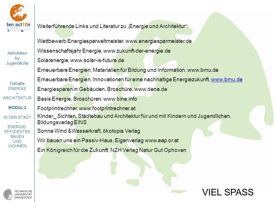 """Weiterführende Links und Literatur zu """"Energie und Architektur :"""