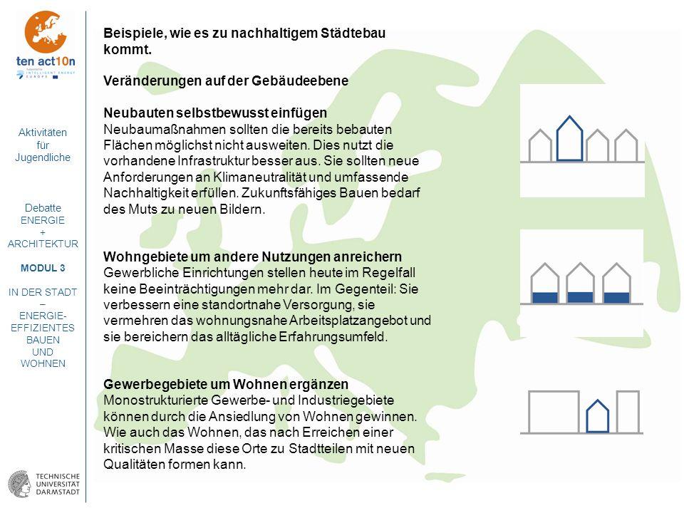 Beispiele, wie es zu nachhaltigem Städtebau kommt.