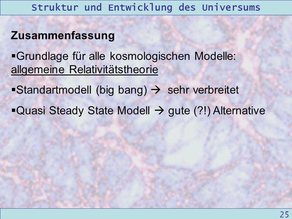 Zusammenfassung Grundlage für alle kosmologischen Modelle: allgemeine Relativitätstheorie. Standartmodell (big bang)  sehr verbreitet.