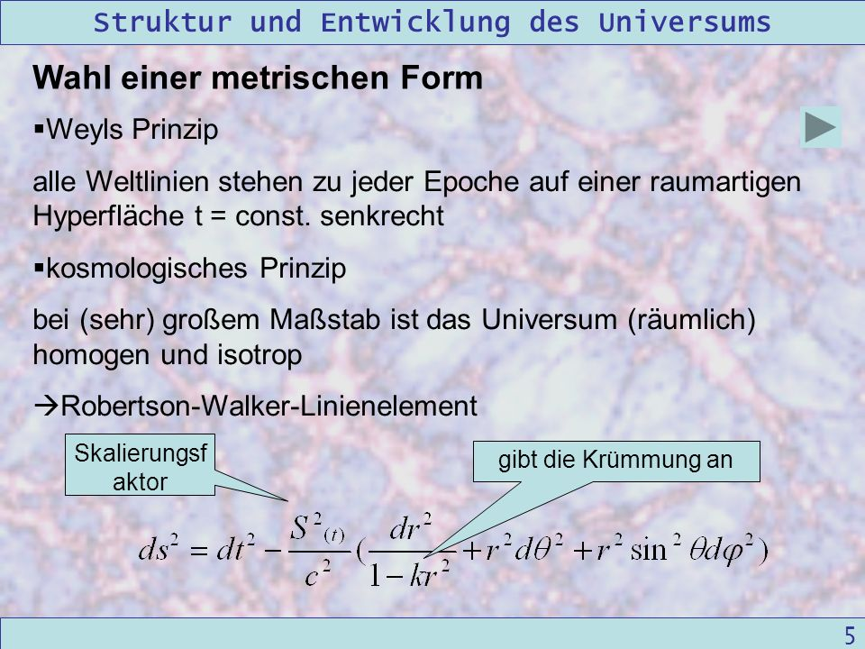 Wahl einer metrischen Form