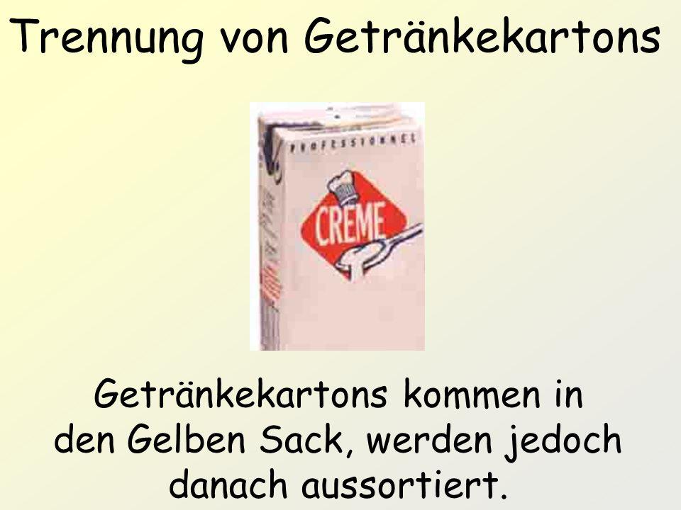 Trennung von Getränkekartons