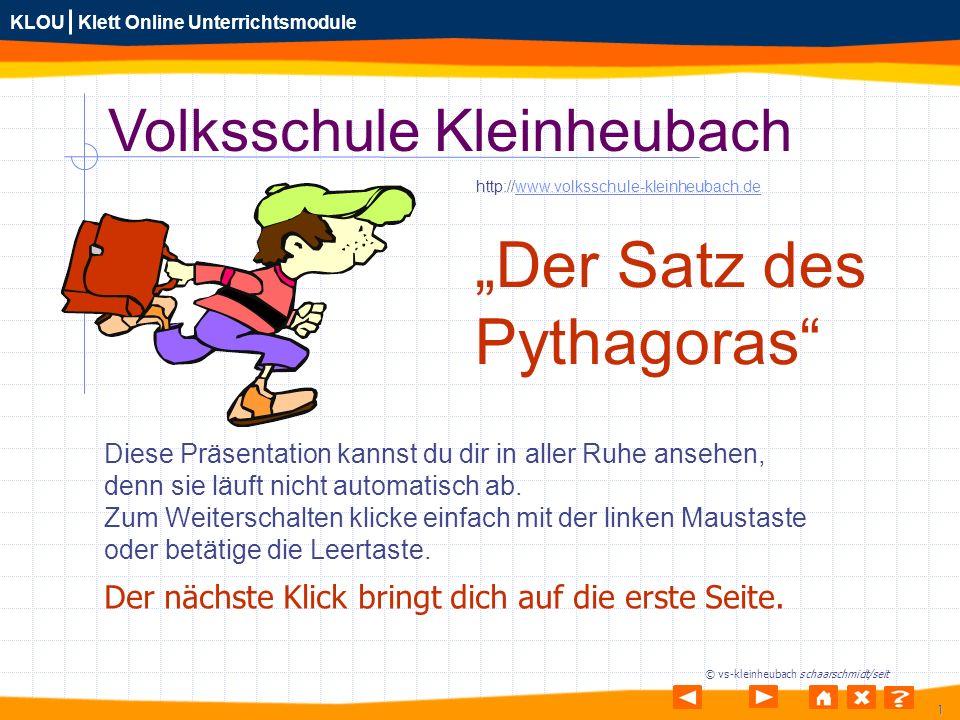 """""""Der Satz des Pythagoras Volksschule Kleinheubach"""