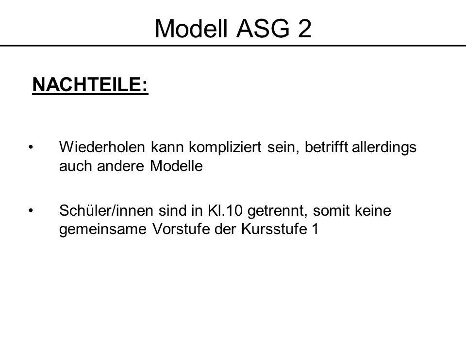 Modell ASG 2 NACHTEILE: Wiederholen kann kompliziert sein, betrifft allerdings auch andere Modelle.