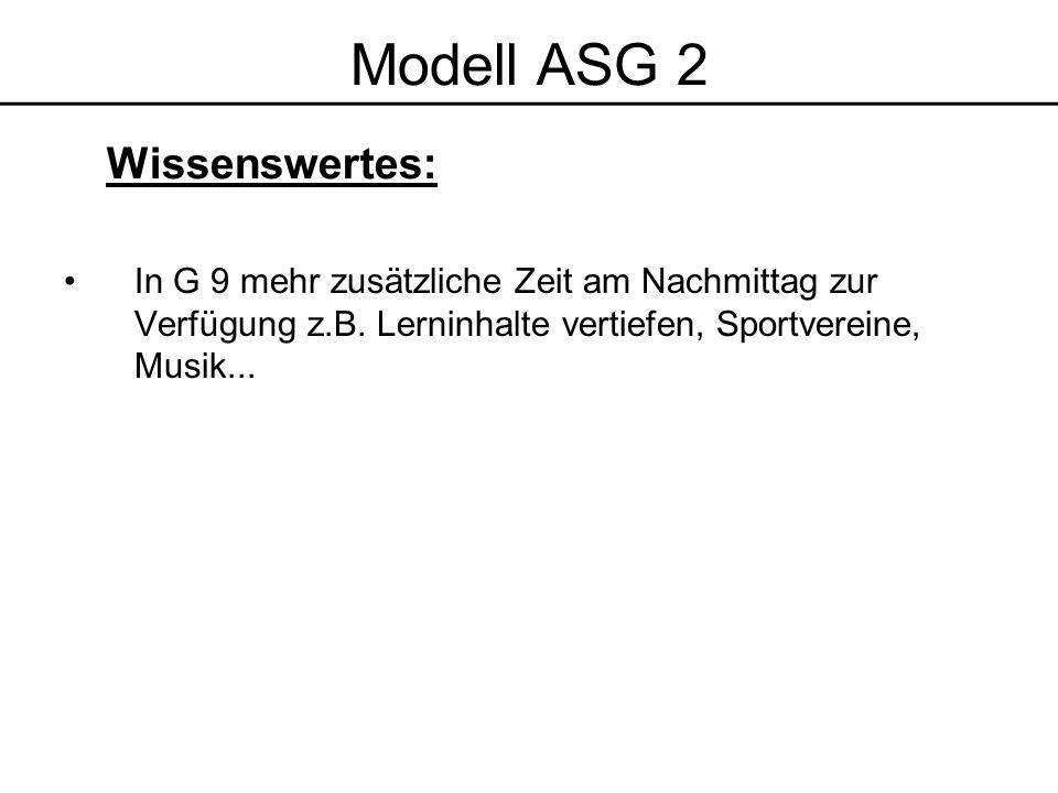 Modell ASG 2 Wissenswertes: