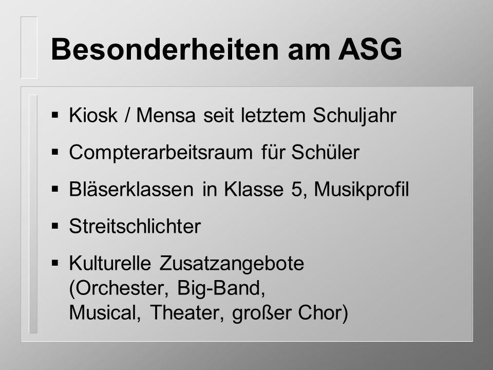 Besonderheiten am ASG Kiosk / Mensa seit letztem Schuljahr
