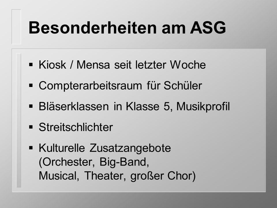 Besonderheiten am ASG Kiosk / Mensa seit letzter Woche