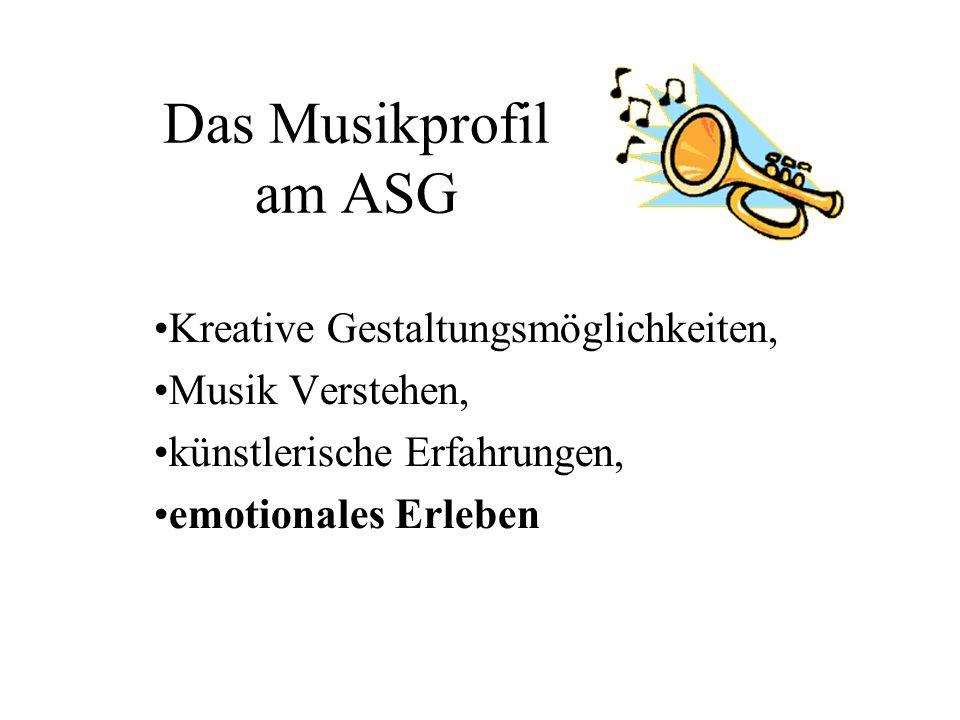 Das Musikprofil am ASG Kreative Gestaltungsmöglichkeiten,