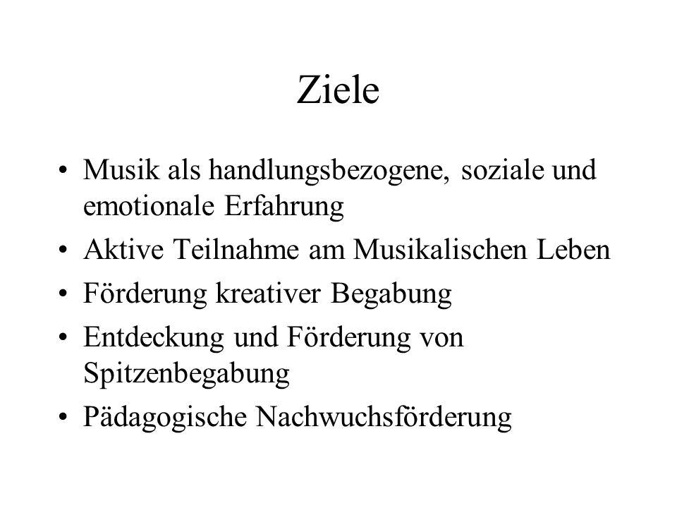 Ziele Musik als handlungsbezogene, soziale und emotionale Erfahrung