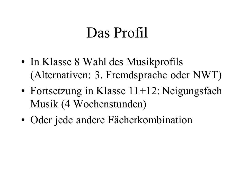 Das ProfilIn Klasse 8 Wahl des Musikprofils (Alternativen: 3. Fremdsprache oder NWT)