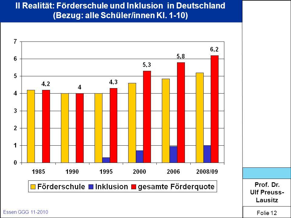 II Realität: Förderschule und Inklusion in Deutschland (Bezug: alle Schüler/innen Kl. 1-10)