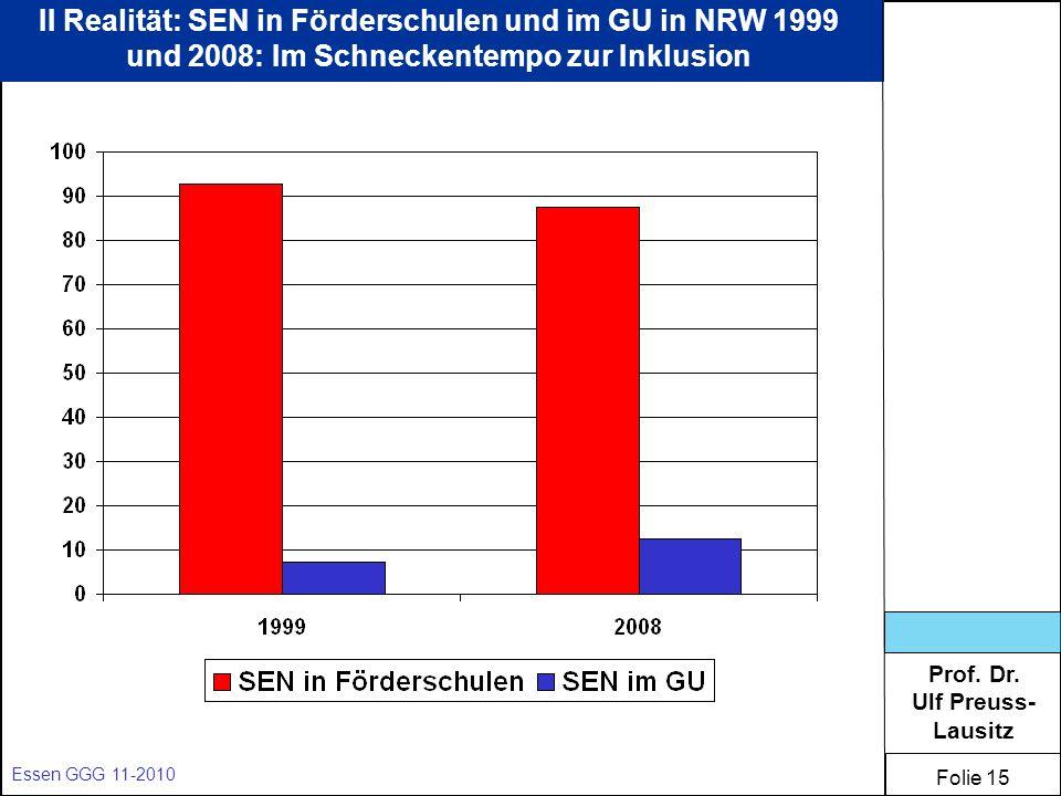 II Realität: SEN in Förderschulen und im GU in NRW 1999 und 2008: Im Schneckentempo zur Inklusion