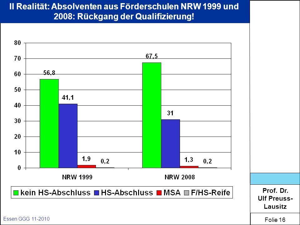 II Realität: Absolventen aus Förderschulen NRW 1999 und 2008: Rückgang der Qualifizierung!