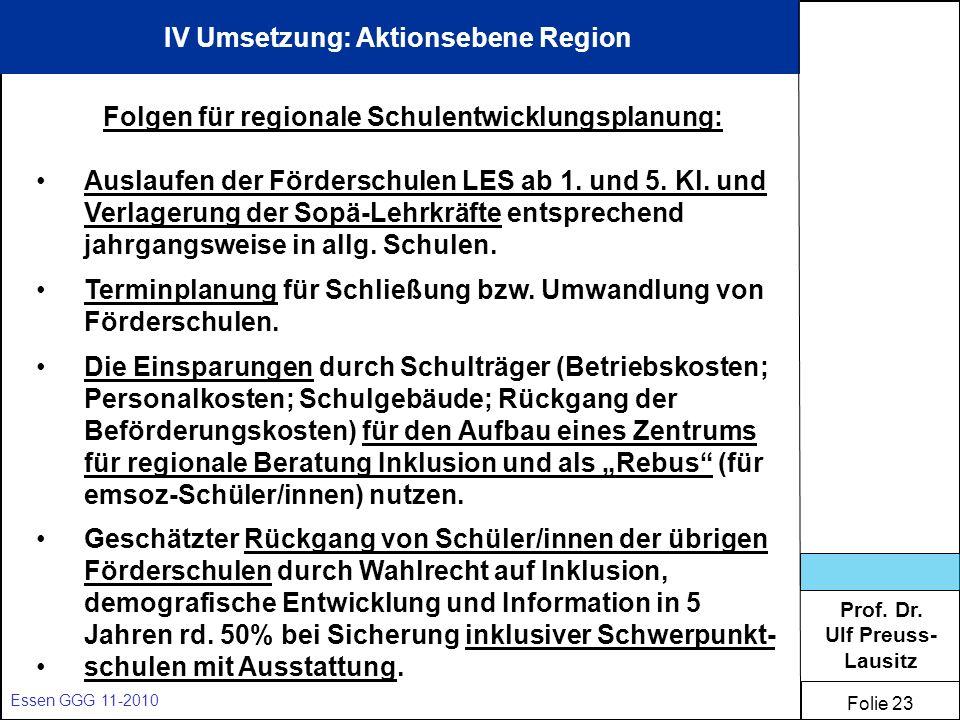IV Umsetzung: Aktionsebene Region