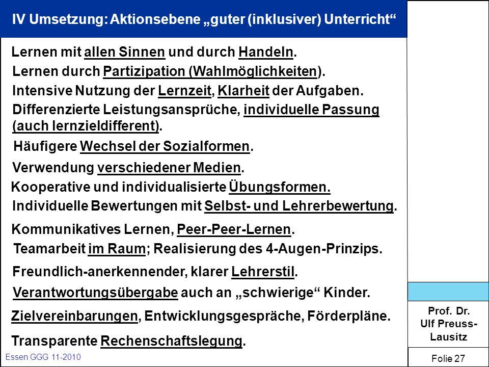 "IV Umsetzung: Aktionsebene ""guter (inklusiver) Unterricht"
