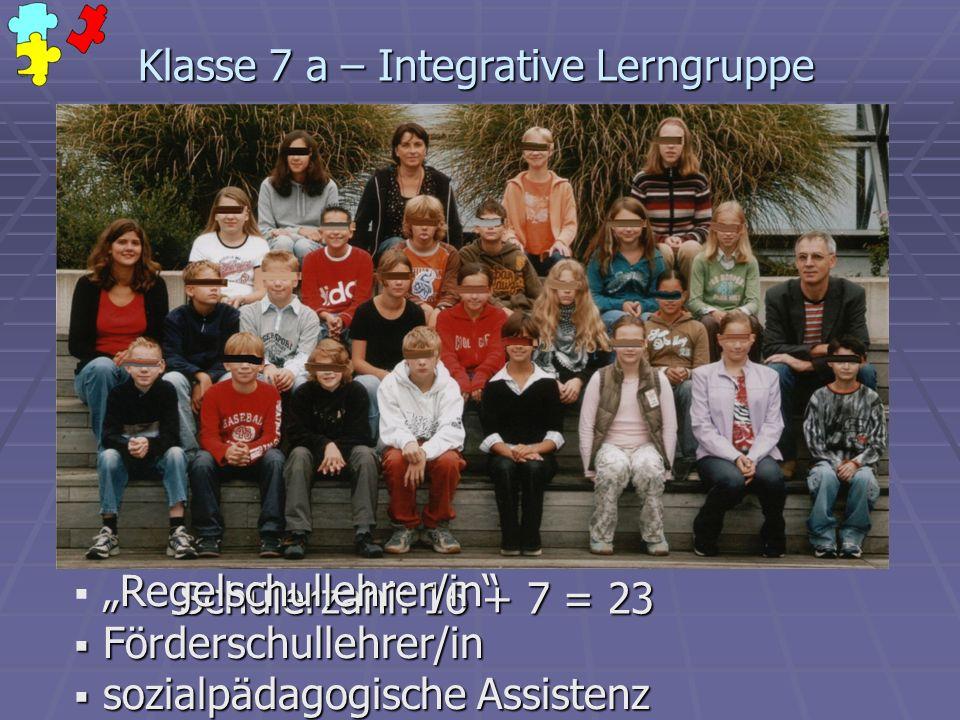 Klasse 7 a – Integrative Lerngruppe