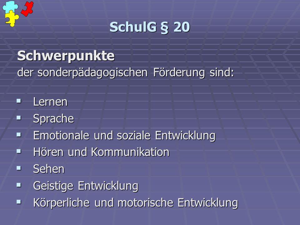 SchulG § 20 Schwerpunkte der sonderpädagogischen Förderung sind: