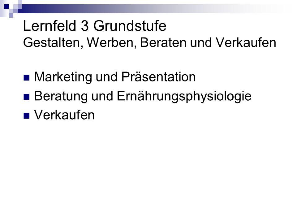 Lernfeld 3 Grundstufe Gestalten, Werben, Beraten und Verkaufen