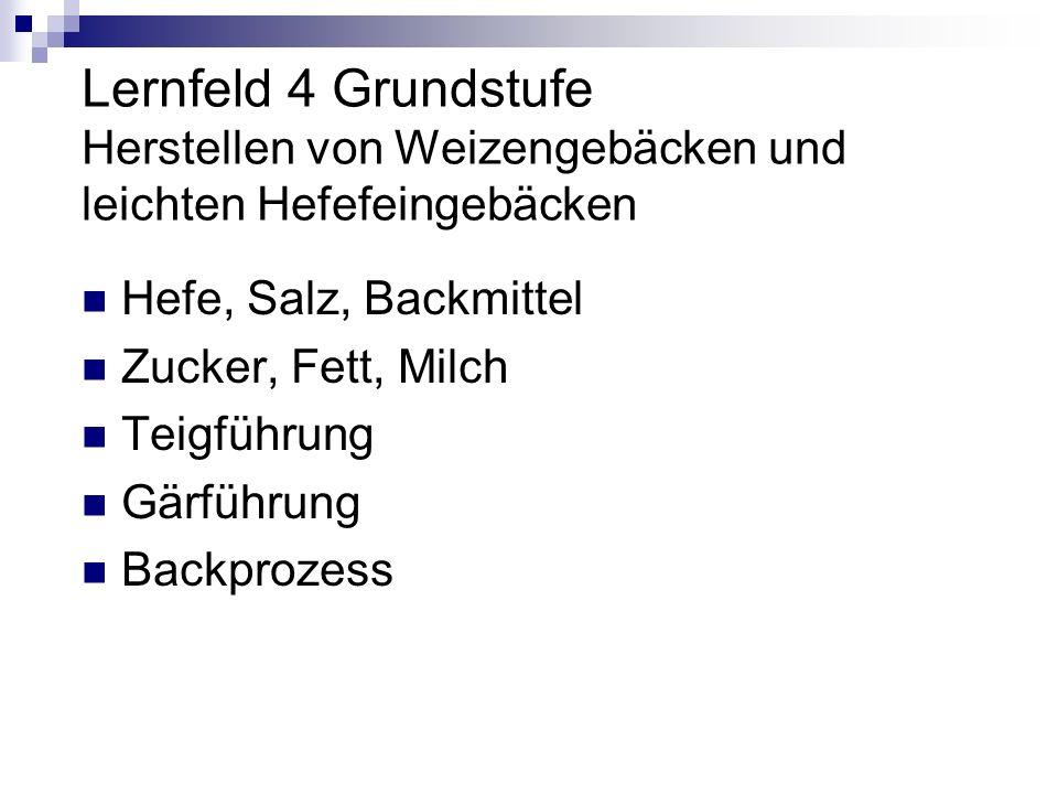 Lernfeld 4 Grundstufe Herstellen von Weizengebäcken und leichten Hefefeingebäcken