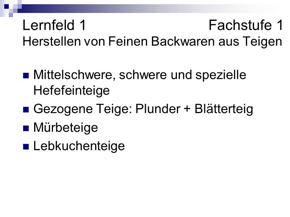 Lernfeld 1 Fachstufe 1 Herstellen von Feinen Backwaren aus Teigen