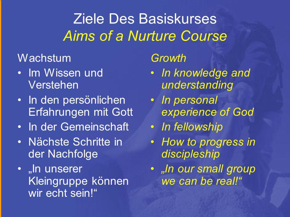 Ziele Des Basiskurses Aims of a Nurture Course