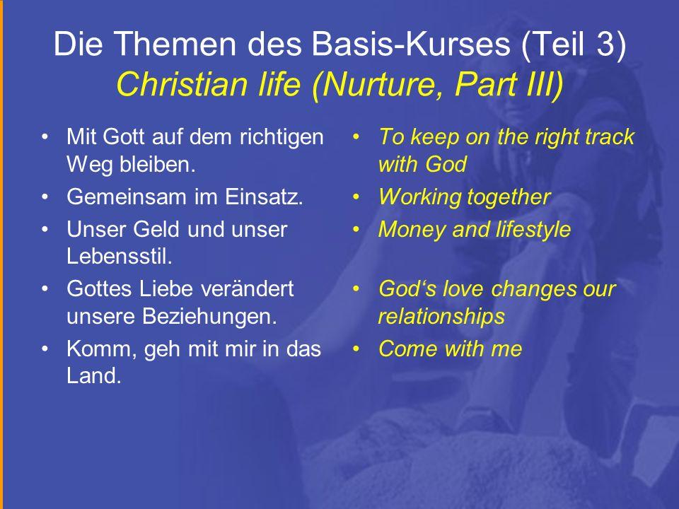 Die Themen des Basis-Kurses (Teil 3) Christian life (Nurture, Part III)