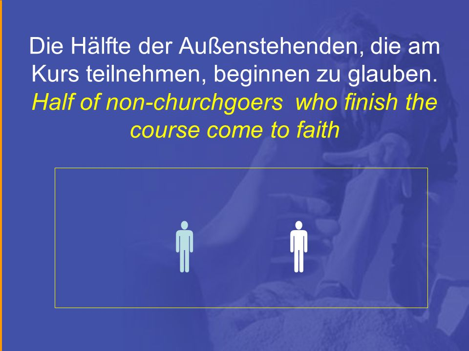 Die Hälfte der Außenstehenden, die am Kurs teilnehmen, beginnen zu glauben. Half of non-churchgoers who finish the course come to faith