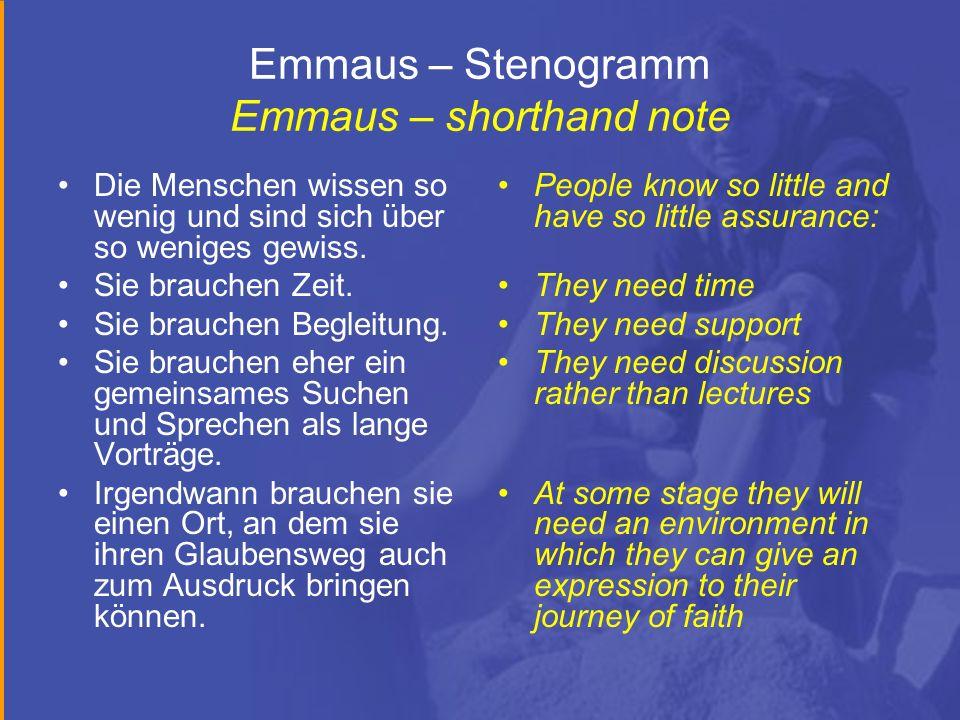 Emmaus – Stenogramm Emmaus – shorthand note