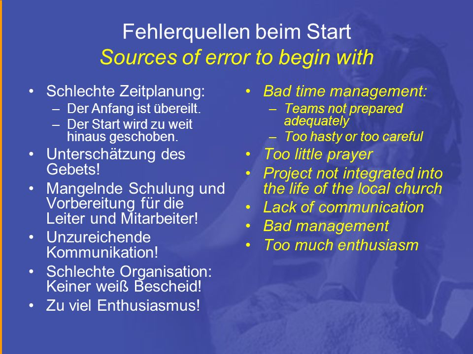 Fehlerquellen beim Start Sources of error to begin with