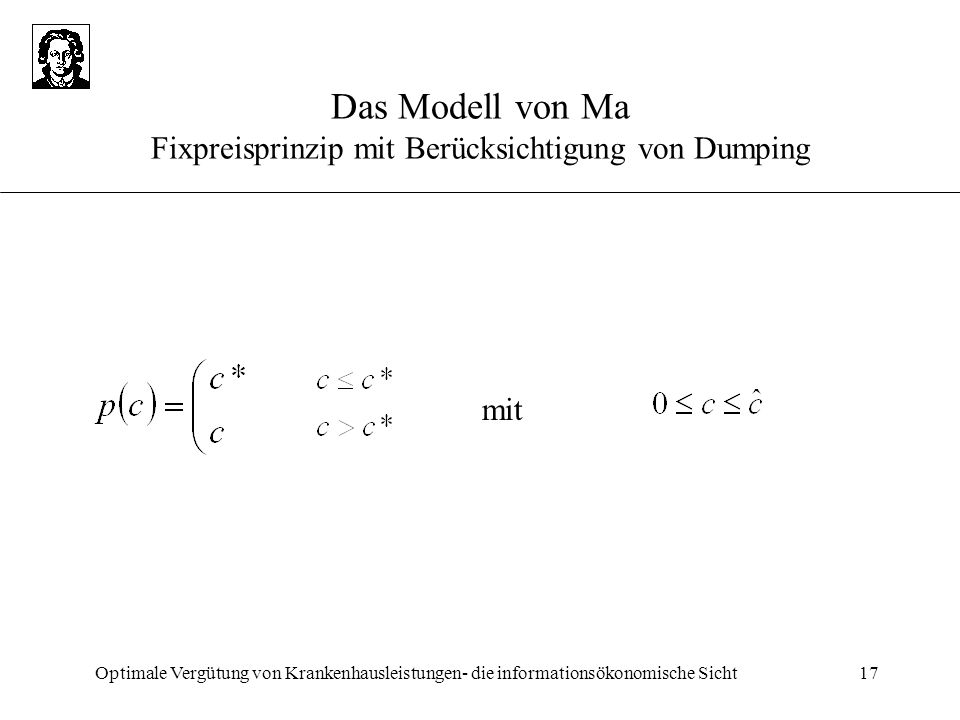 Das Modell von Ma Fixpreisprinzip mit Berücksichtigung von Dumping