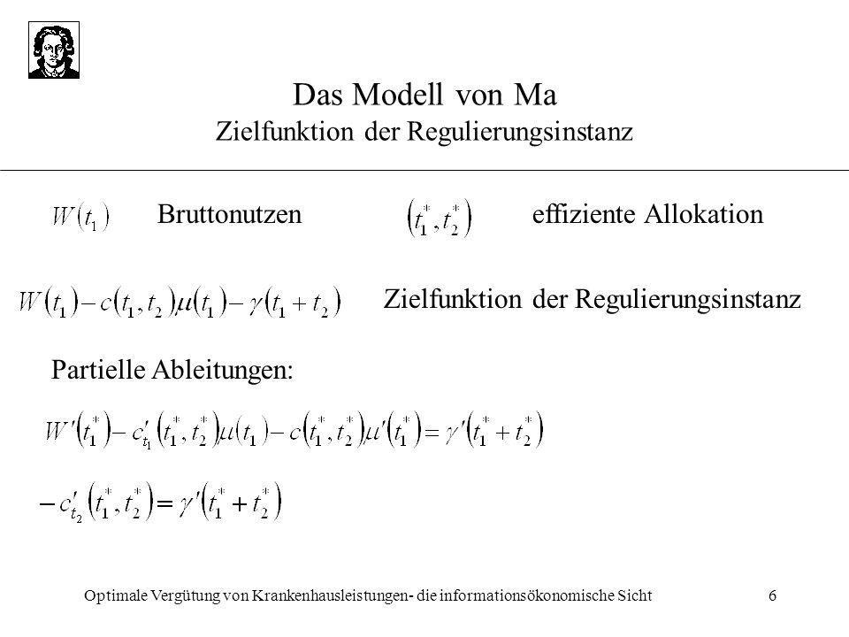Das Modell von Ma Zielfunktion der Regulierungsinstanz
